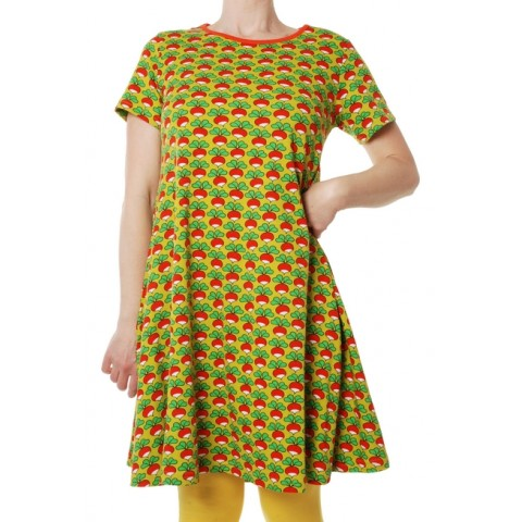 DUNS Sweden retek mintás ruha mustár színben (felnőtt méret)