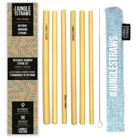 """Jungle Straws 6 db-os bambusz szívószál szett, """"Aqua"""""""