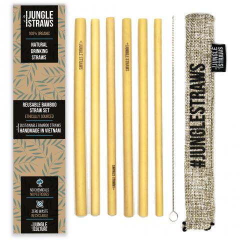 """Jungle Straws 6 db-os bambusz szívószál szett, """"Ash"""""""
