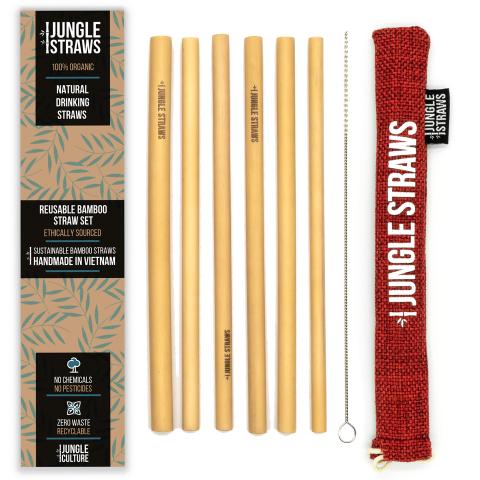 """Jungle Straws 6 db-os bambusz szívószál szett, """"Berry"""""""