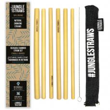 """Jungle Straws 6 db-os bambusz szívószál szett, """"Charcoal"""""""