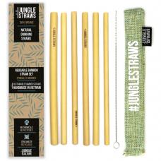 """Jungle Straws 6 db-os bambusz szívószál szett, """"Sage"""""""