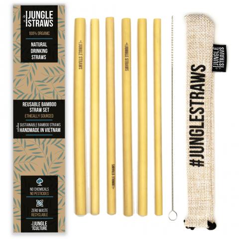 """Jungle Straws 6 db-os bambusz szívószál szett, """"Vanilla"""""""