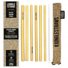 """Jungle Straws 6 db-os bambusz szívószál szett, """"Wheat"""""""