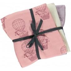3 db-os Småfolk textil pelenka szett ballon mintával - lányoknak