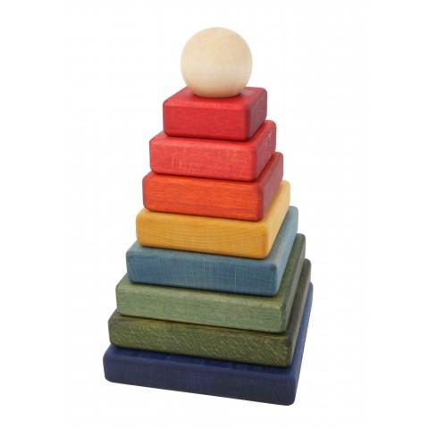 WOODEN STORY színes piramis építő