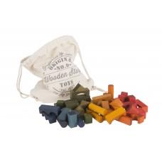 WOODEN STORY színes építőelemek vászonzsákban - 100 db